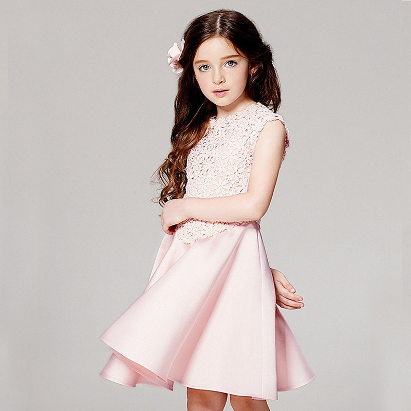 Girls Dress Summer Brand Princess Dress Kids Clothes Openwork Flowers Pleated Girl Party Dress Girls Clothing Child Tutu Costume