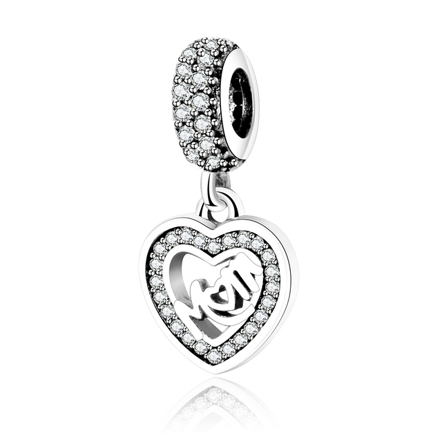 Mom Forever in My Heart Dangle Charm 925 Sterling Silver Charms Fits Pandora, European Bracelets Compatible