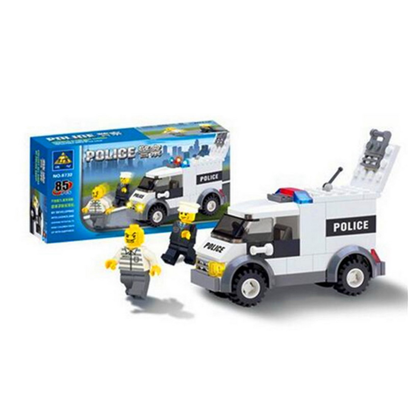 Kazi 6732 85Pcs City Prisoners Police Car Model Building Blocks Classic Enlighten Figure Toys For Children Compatible Legoe b1600 sluban city police swat patrol car model building blocks classic enlighten diy figure toys for children compatible legoe