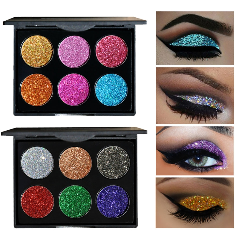 Professional 6 Colors Diamond Bright Colorful Makeup Eye Shadow Make Up Set Glitter Shining Smoked Eyeshadow Palette With Brush ...