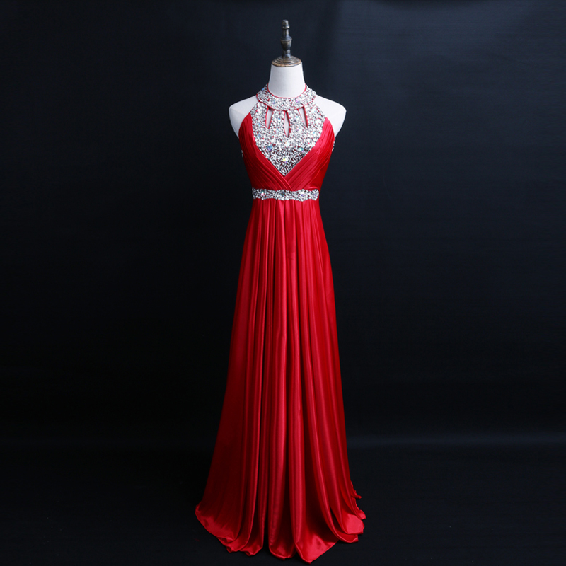 Long Chiffon   Bridesmaid     Dresses   Halter Off the Shoulder Beading Sequined Red Cheap   Bridesmaid     Dress   Gown