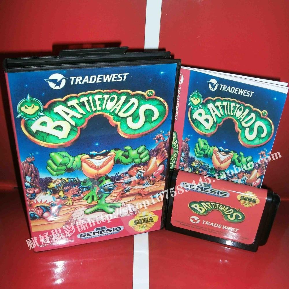 Sega MD game - Battletoads with Box and Manual for 16 bit Sega MD game Cartridge Megadrive Genesis system