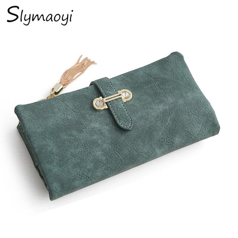 1c07eea8a Slymaoyi moda mujer billetera mujer Nubuck cuero cremallera cartera mujer  diseño largo monedero cartera Retro y monederos
