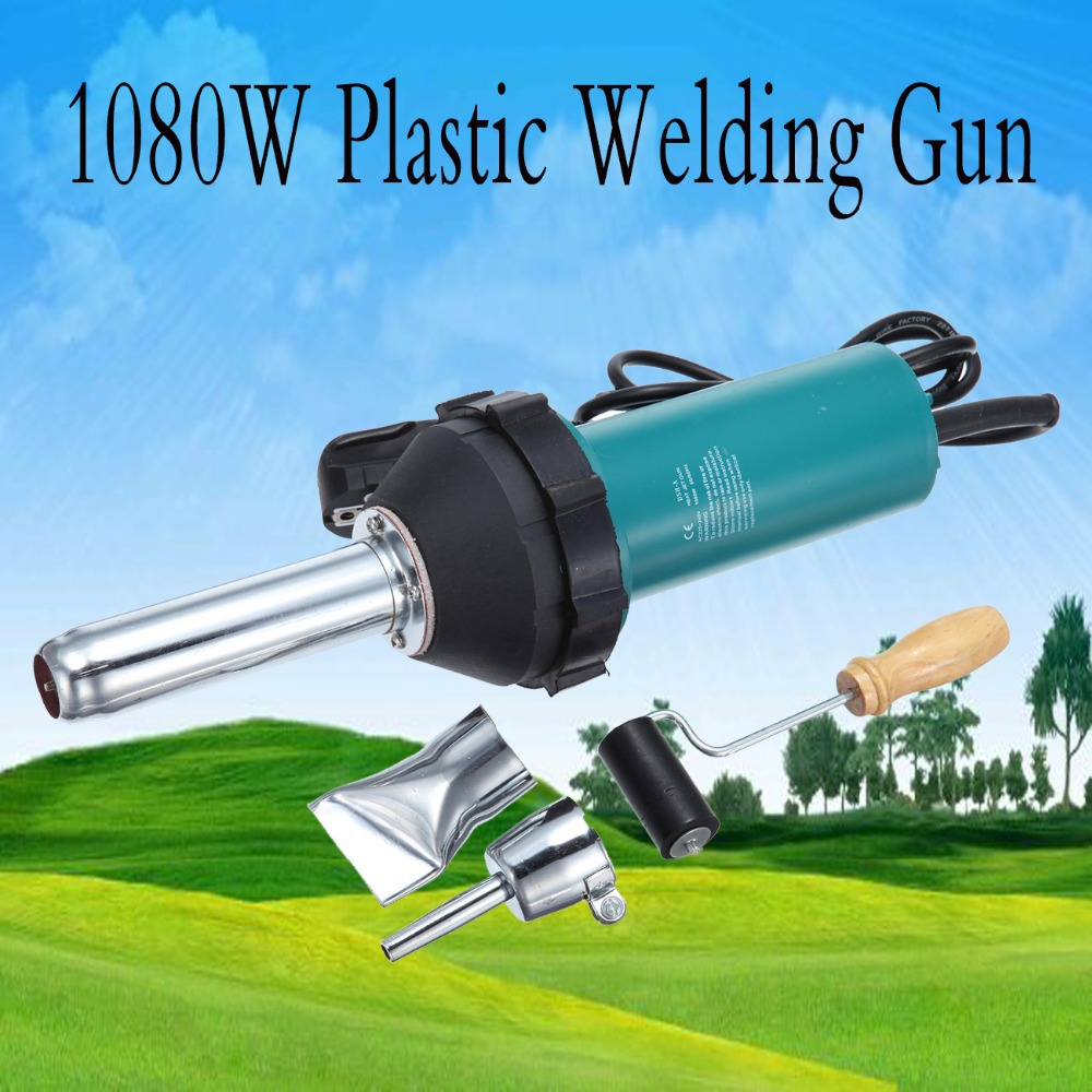 1080W Plastic Welder Gun Hot Air Gas PVC / PE Vinyl + ROD EU Plug 220V цены