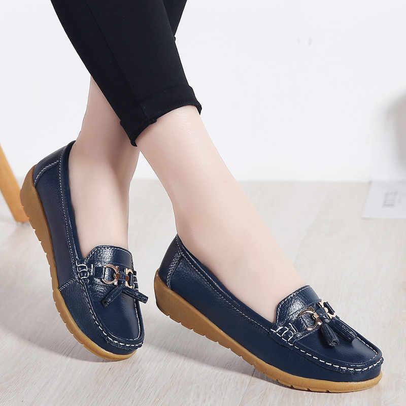 Pinsen 봄 캐주얼 여성 신발 발레 플랫 moccasin 신발 여성 슬립 어머니 신발 캐주얼 플랫 moccasins 빅 사이즈 35-41