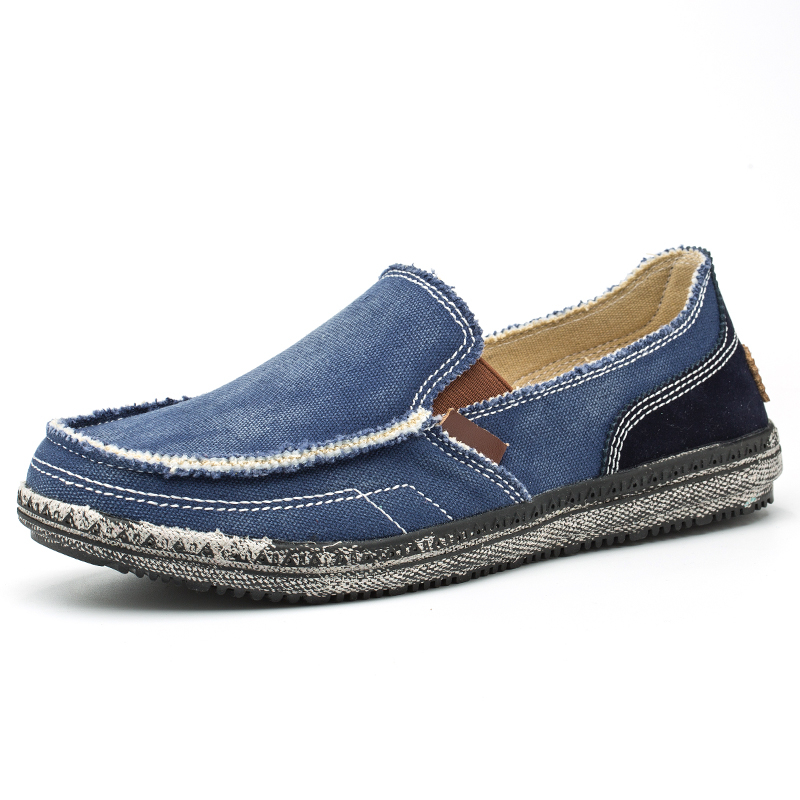 Image 2 - classic canvas shoes men lazy shoes blue grey canvas moccasins men slip on loafers washed denim casual flats big size 46-in Men's Casual Shoes from Shoes