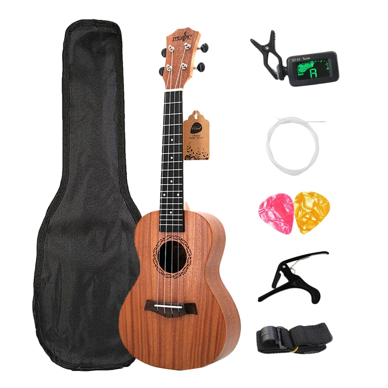 Concert Ukulele Kits 23 Inch Rosewood 4 Strings Hawaiian Mini Guitar With Bag Tuner Capo Strap Stings Picks Musical Instrument