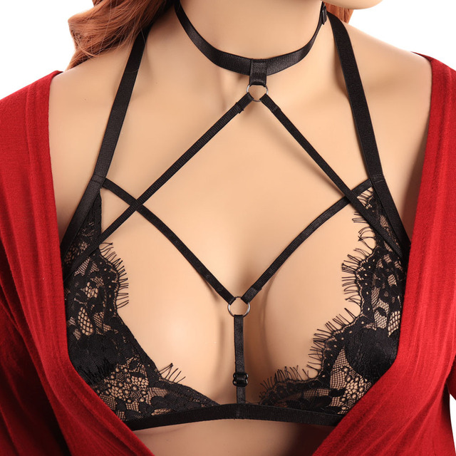 94db81cc55c7f8 BODY CAGE Womens Sexy Soft Lace Bralette Sheer Lingerie Harness Bondage  Black Elastic Adjust Strappy Bras Crop Tops Open Chest