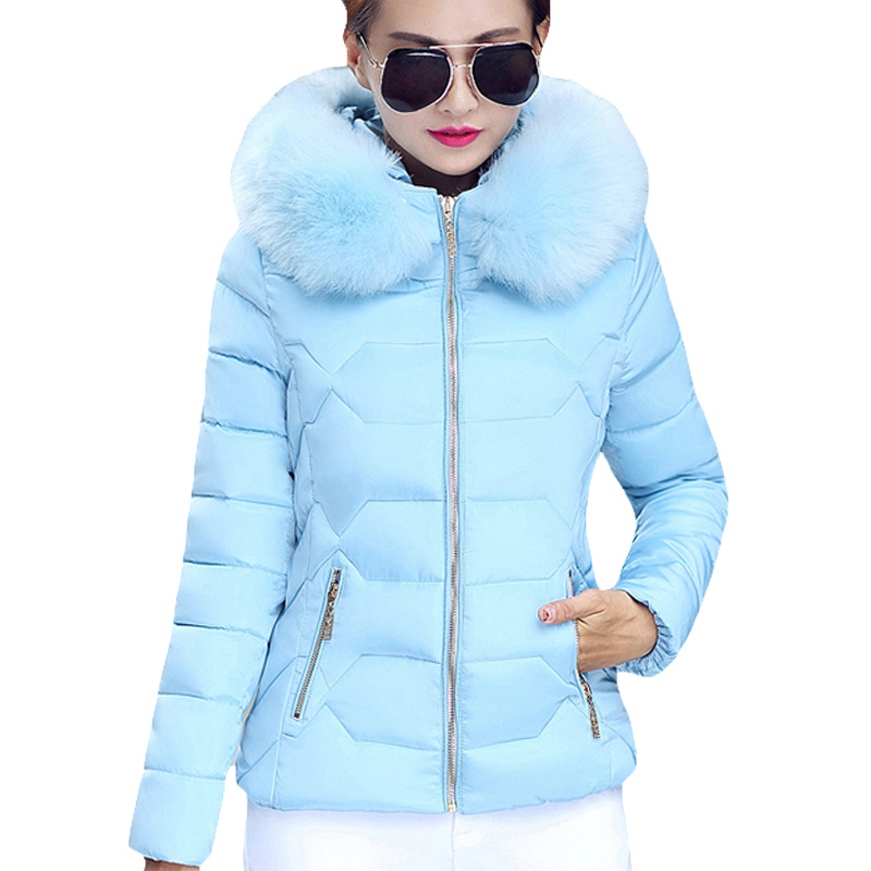 2017 Brand New Autumn Winter Women's Plus Size Quilted Short Parka Slim Big Fur Hood Zip Up Jacket Coat Winter Collection XH471 zip up faux fur hood parka jacket