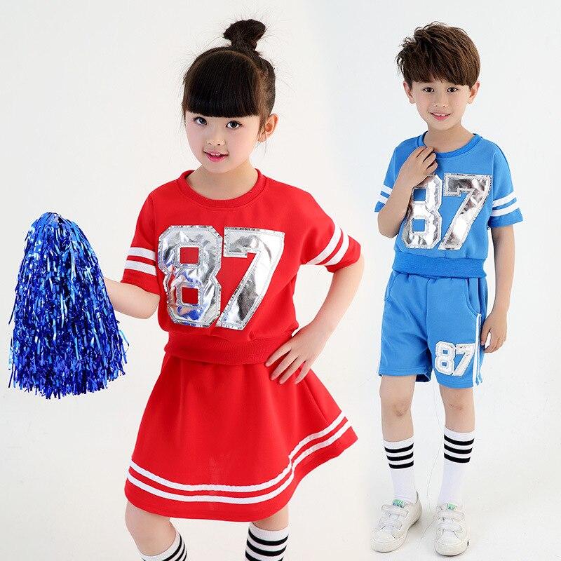 Dancing High School Cheerleader Clothing  Training Tops And Miniskirt Set Child Soccer Cheerleading Suit Techer Cheerleading Cos