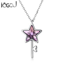 IOGOU 925 Sterling Silver Unique Key Pendant Necklace Colorful Star Heart Wedding Anniversary Party Jewelry Gift for Women
