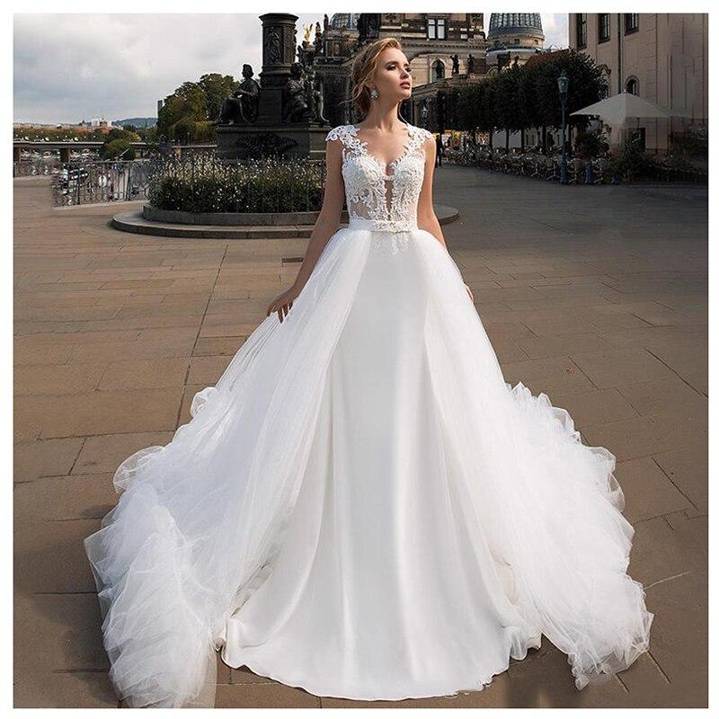 Smileven Removable Train Wedding Dress 2019 White Ivory Beach Bride Dresses Train Cheap Elegant Wedding Bridal Gowns 2019