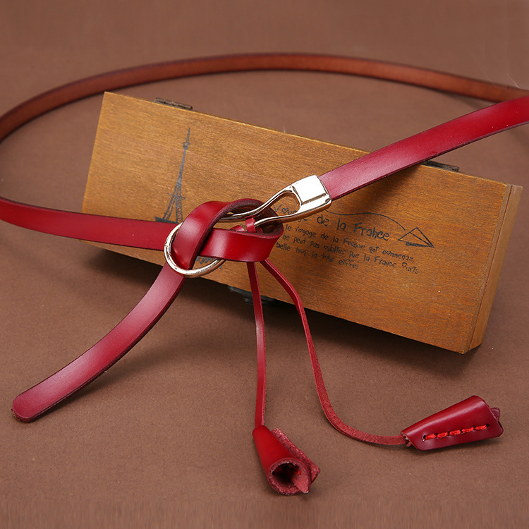 Cowskin Leather Belt Fashion Knot Women's Belt Alloy Buttonhead Cowhide Decoration Women Fine Belt Women
