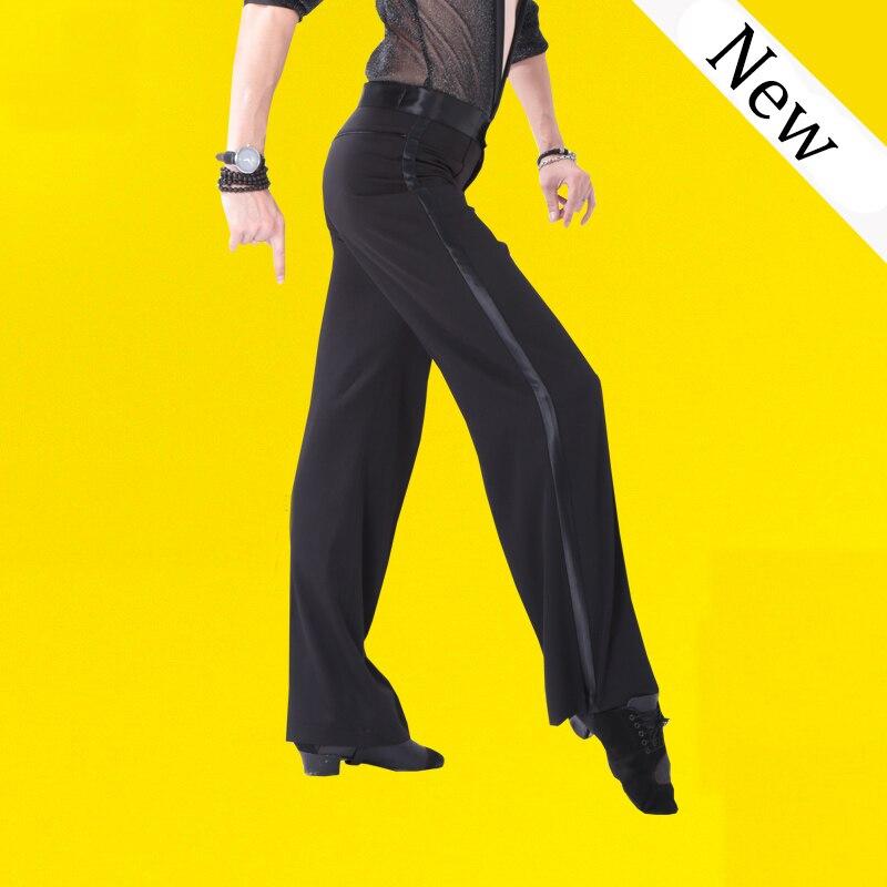 Black Satin Ribbon On Side Men's Latin Pants Mens modern Ballroom Dance Pants Latin Dance Pants Men Men's trousers N1000