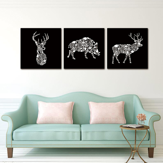 Wall Art Pictures canvas Painting 3PCS print on Creative White Deer Head  Boar Art Modern AbstractAtelier Studio Bedroom no frame-in Painting & ...