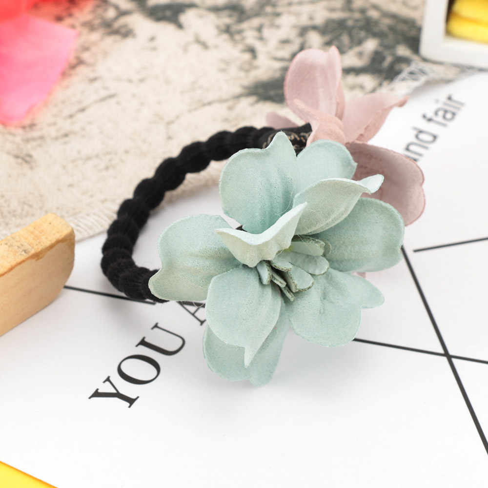 High Quality 4Colors Large Cloth Flower Shape Hair Rope Popular Women Girls Rubber bands Elastic Hair Bands Hair Ring Hot Sale