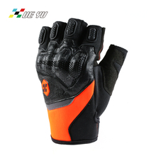 XUE YU Cow Leather Anti Shock Half finger Motocross Motorbike Motorcycle Gloves Summer Guantes Luva Guanti