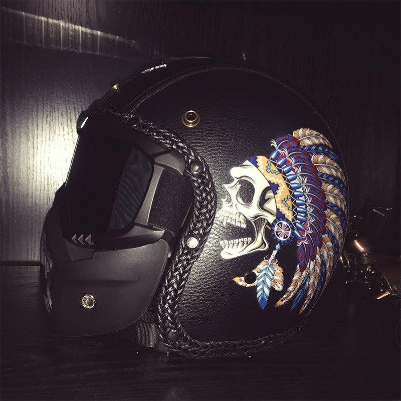 VCOROS череп маска из искусственной кожи moto rcycle шлемы Винтаж 3/4 открытый лицо Ретро шлем, закрывающий половину лица головной убор для езды на скутере moto Dot утвержден - 6