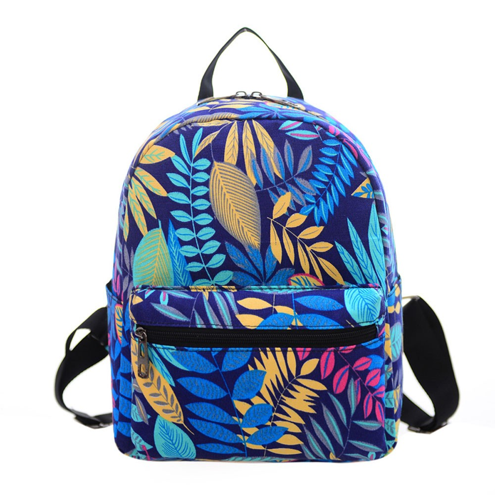Bright Blue Student Backpack Books Carrier Colorful Leaf Print Shoulder Canvas Backpack Travel Teen Rucksack Zipper Satchels