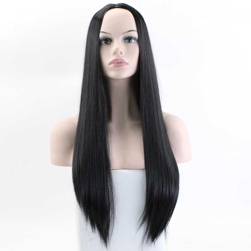 JOY&BEAUTY Black Brown Golden Gray Long Straight Wig High Temperature Fiber Synthetic Wig 24 Inch Matte Women Wig