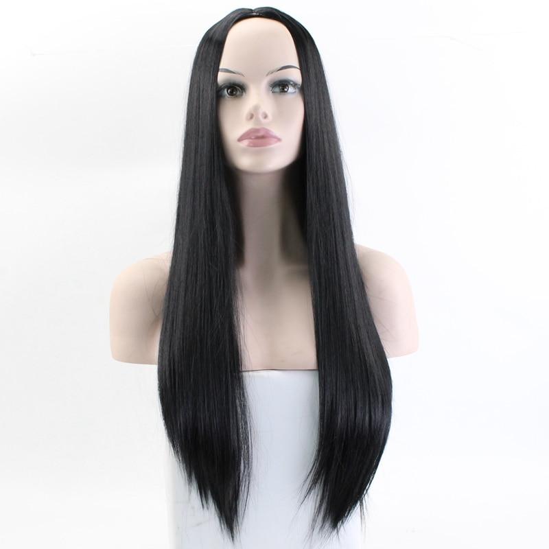 JOY&BEAUTY Black Brown Golden Gray Long Straight Wig High Temperature Fiber Synthetic Wig 24 Inch Matte Women Wig