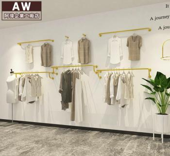 Women's clothing store hanger rack display rack, wall hanging side hanger stainless steel golden tube hanger double deck hanger clothing display rack floor type store hanger iron art island rack clothing gantry rack