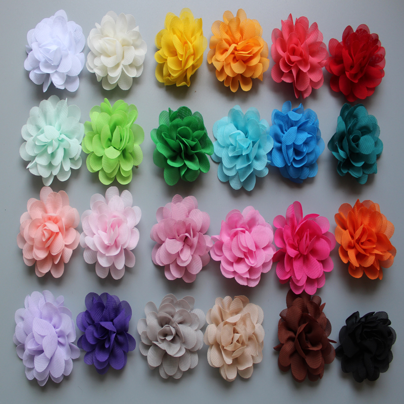 1000pcs/lot kids Hair Flowers For Headbands 2 Inch Fabric Chiffon Without Clips Girls accessories  Free Shipping