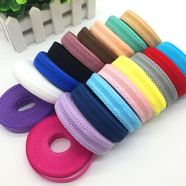 """18 renk 5 Yards 5/8 """"(15mm) gridding Elastik Bant Maksatlı Trim Şerit Dikiş elastan dantel süs Bel Bandı Giysi Aksesuarı"""