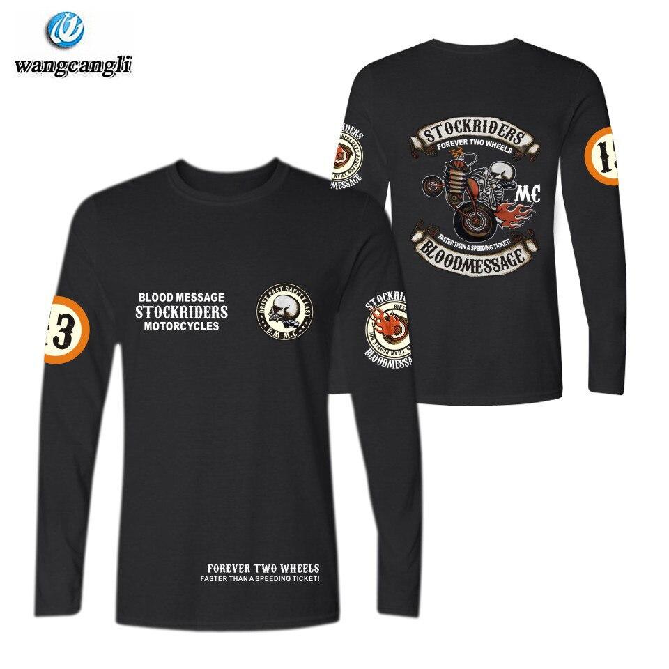 Camiseta punk de algodão caveira, acessórios para motociclista, manga longa, locomotor, top, roupas de marca