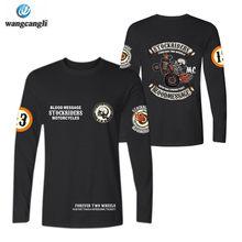 Skull stockriders motocicleta t camisas do punk algodão tshirt t camisa de manga longa crânio locomotiva camiseta topos roupas marca
