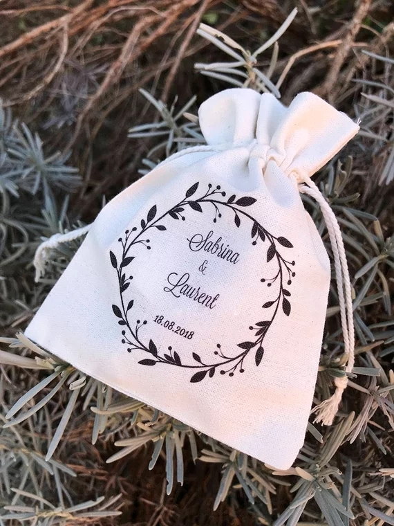 Personalised Wedding Day Gift Bag Favour Bride to be Wife Present Vintage Sack 2