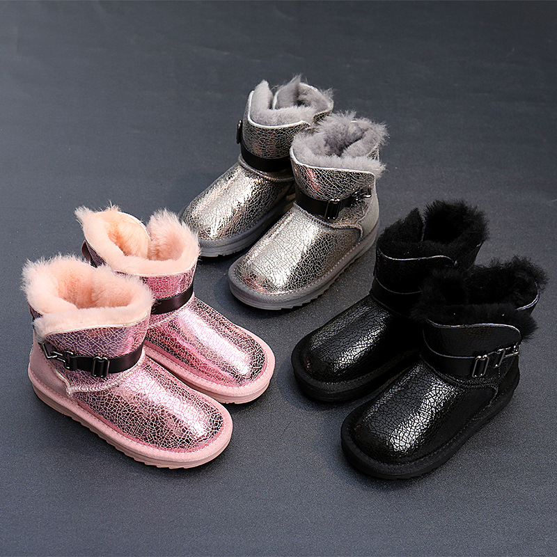 MAGGIE'S WALKER Kids Winter Snow Boots Children Fashion Buttons Snow Boots Baby Boys Girls Warm Plush Soft Bottom Ankle Boots