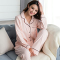 New Arrival Autumn Woman Cotton Casual Pajamas Pyjamas Sets Couple Sleepwear Loungewear