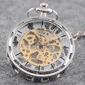Classic Silver Из Нержавеющей Стали Стимпанк Золото Скелет Мужские Леди Ручной обмотки механические карманные часы