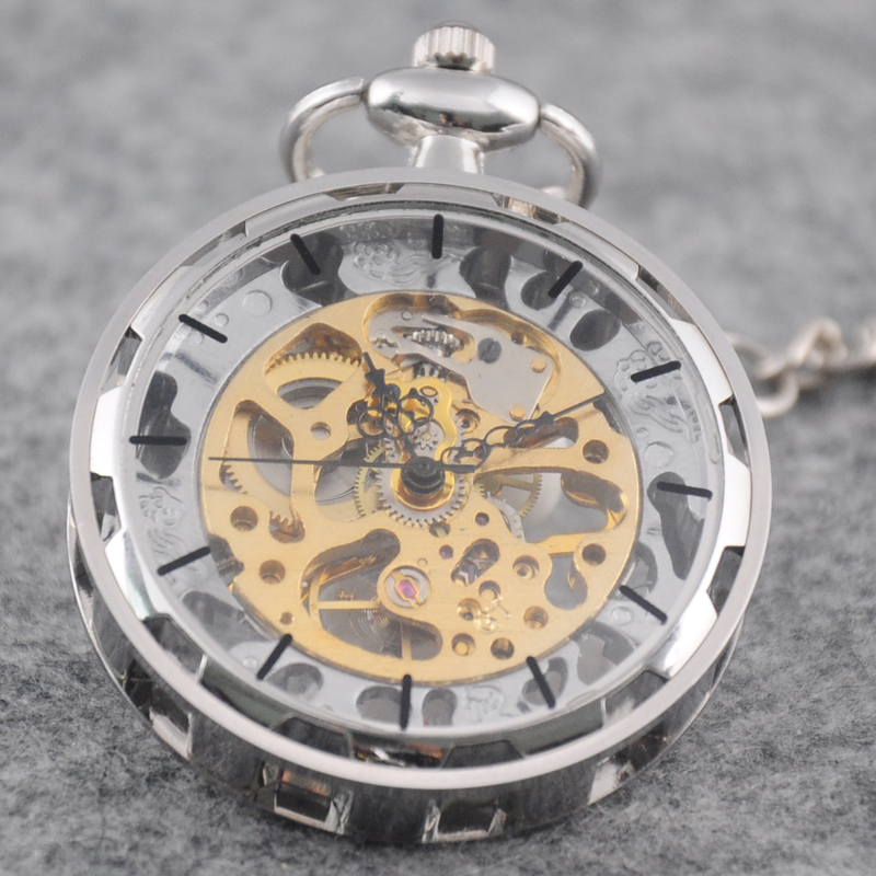 online buy whole antique mens gold pocket watch from classic silver stainless steel steampunk gold skeleton mens lady hand winding mechanical pocket watch