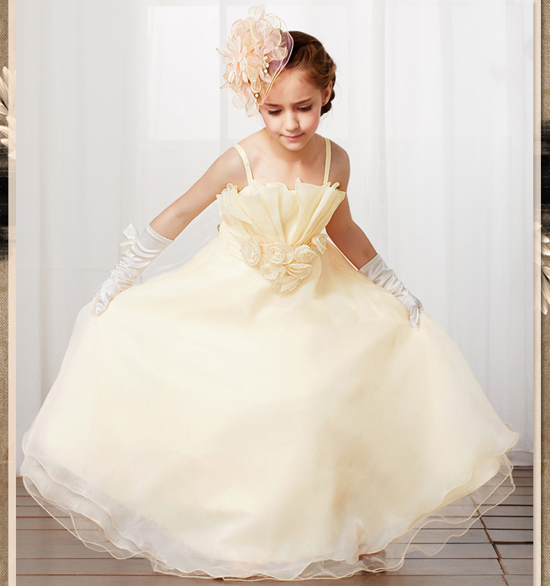 New Arrival Champagne/Pink Spaghetti Straps Scalloped Pleats   Flower     Girl     Dresses   For Weddings first communion   dresses   for   girls
