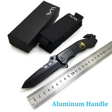 WTT 229 Black Folding Hunting Knife 7CR17Mov Half Serrated Blade Tactical Camping Survival Combat Pocket Knives EDC Multi Tools wtt tactical folding hunting knife 5cr13 blade utility combat camping edc pocket knives for survival outdoor rescue multi tools