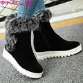 VINLLE 2016 Fashion Warm Fur Winter Shoes Women Thick Velvet Snow Boots Wedge Med Heel Solid Ankle Boots Women Boots Size 34-43