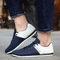 Homens sapatos 2016 Novos Sapatos Casuais Respirável Superfície de Malha Homens Sapatos Flats Lace-up Patchwork Suave