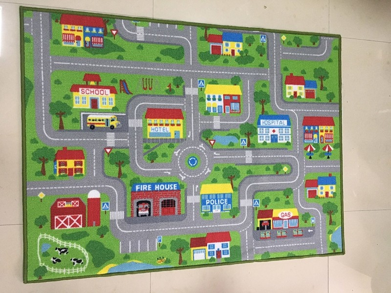 Routes pistes en ville ville tapis de jeu pour enfants garçon fille tapis extra grandes sortes pour salle de jeux vert meilleur aimé tapis tapis de jeu - 2