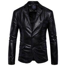 Большой разные Для мужчин с лацканами Тонкий кожаный большой Размеры Для мужчин кожаные костюм Босоножки из искусственной pu кожи тенденция куртка