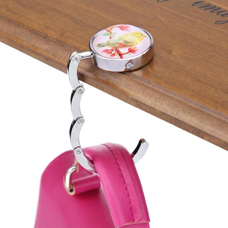 4styles available 1pcs Portable Folding Handbag Hook Table Desk Foldable Purse Bag Hanger Holder Flower Lovely Bird Accessories