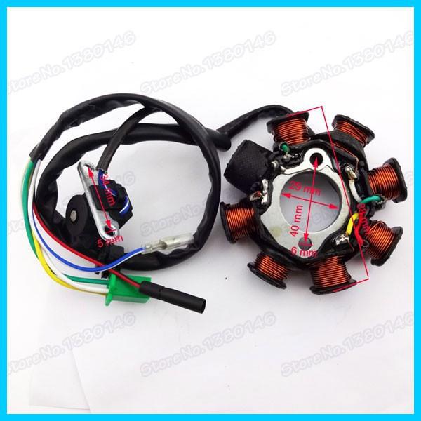 8 поляки катушки зажигания статор магнето для 125cc 150cc gy6 мопед скутер atv-квадроциклы sunl
