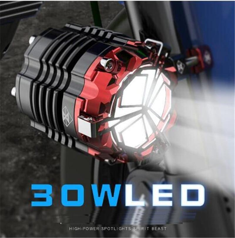 SPIRIT BEAST Headlight 24V 48V 60V Headlamps LED Super Bright Motocross Auxiliary Strobe Lights Motorcycle Lighting Accessories