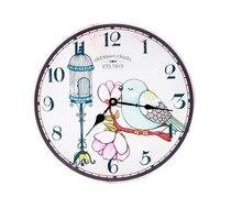 35CM Rose Flower Birdcage Birds Wall Clock Home Room Decorative Wood Digital Clock Modern Pastoral Style