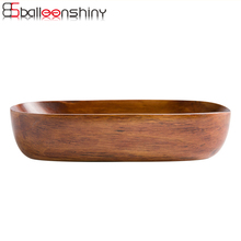 BalleenShiny Hot Japanese Oval Wood Plate Cake Dish Boat Shaped Wooden Tableware Home Restaurant Dishes & Plates