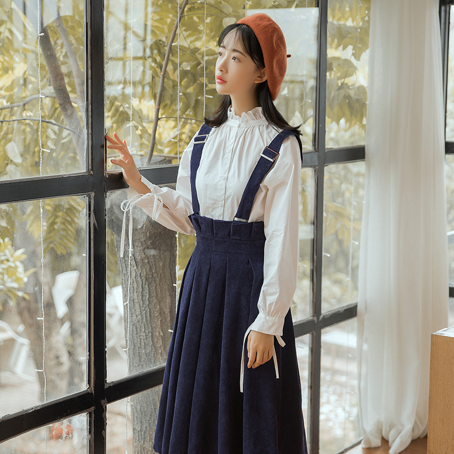 94f9023e7c Aliexpress.com : Buy Women's Solid Corduroy Suspender Skirt High Waist  Pleated A Line Flare Straps Skirt Midi Bib Overall Vintage Skirt With  Pocket from ...