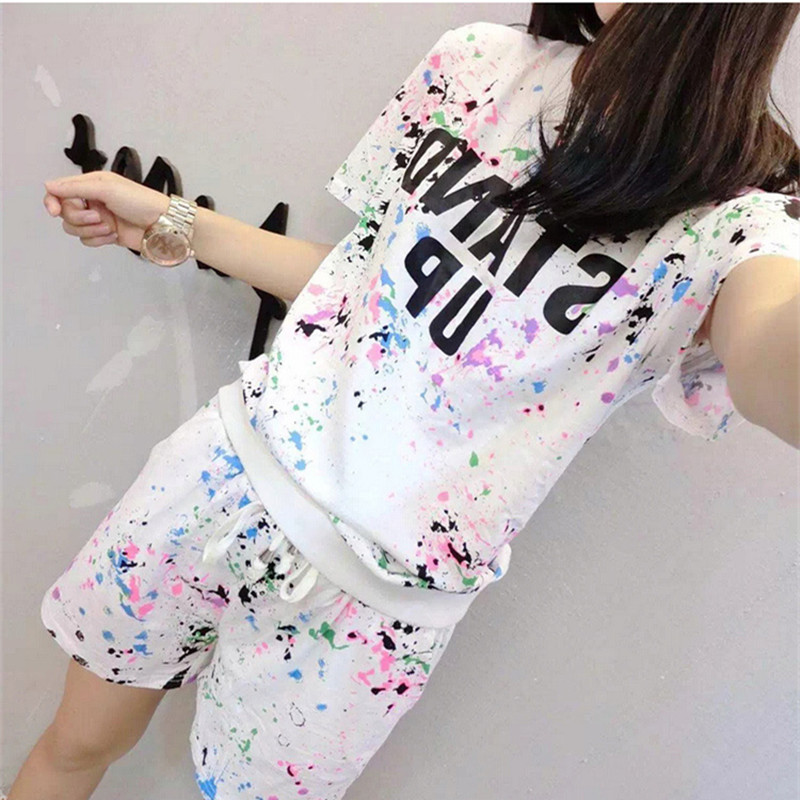 17 Summer Women's Sets Short Sleeve Printed T Shirt + Shorts Sweat Suits Women Tracksuits Camouflage Suit Two Piece Sets 7