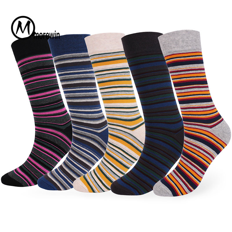Stripes Cloth Sign Design Cotton Socks Big Size Newly Autumn Winter Men Crew Socks Business Dress Mens Socks Hot Selling Morewin