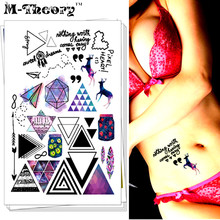 M-Theory Temporary Tattoos Body Arts Stickers Fake Tatuagem Flash Tatoos 21x15cm Tatto Bikini Swimsuit Dress Makeup